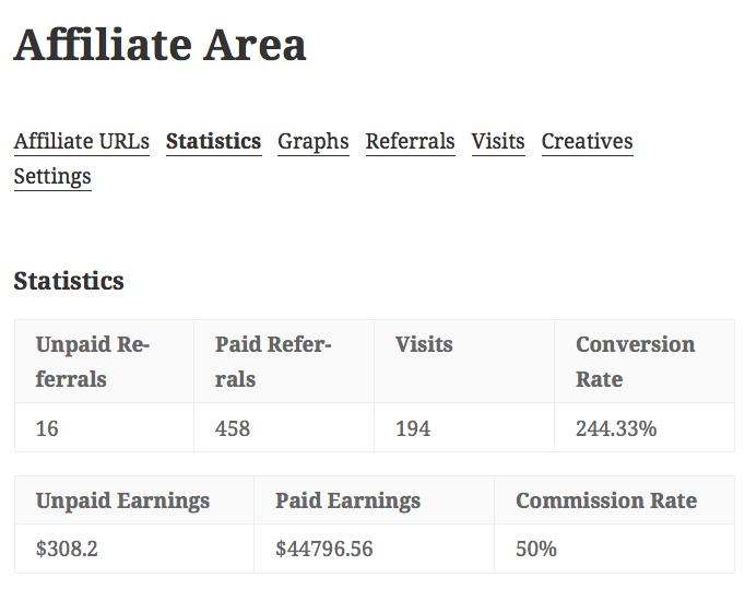 affiliate area - stats