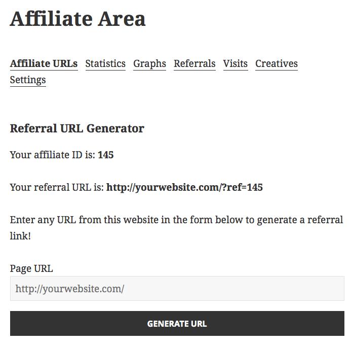 Affiliate area- referral link